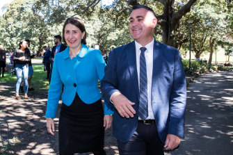 Premier Gladys Berejiklian and Deputy Premier John Barilaro at a press conference to announce their new cabinet after the state election in March 2019.