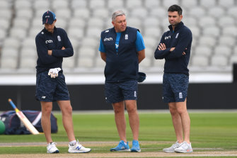 England captain Joe Root, coach Chris Silverwood and James Anderson chat on Thursday.