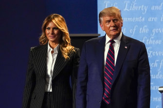 Melania Trump and Donald Trump, pictured after his debate with Democrat candidate Joe Biden, days before the Trumps tested positive for COVID-19.