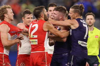 Tensions boil over between the Swans and the Dockers on Saturday night.