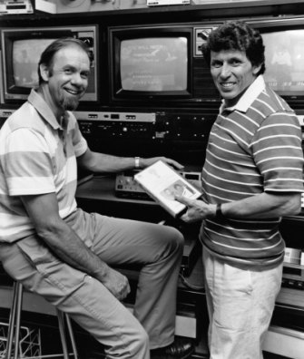 Rob Morrison, left, and Deane Hutton at Channel Nine studios in Adelaide in 1989.