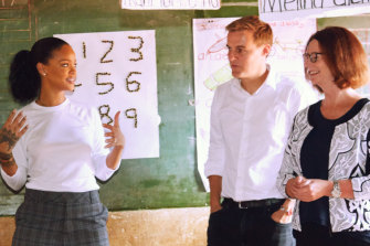Julia Gillard in a Malawi classroom with Rihanna and Global Citizen's Hugh Evans.