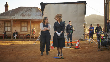 Moorhouse, left, with Kate Winslet on the set of The Dressmaker.