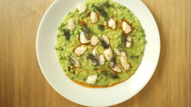 Pea and prawn risotto at the Dolphin Hotel, which is owned by Maurice Terzini.