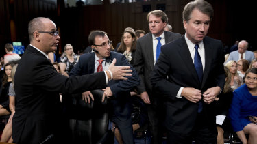 Brett Kavanaugh did not shake hands with Fred Guttenberg when he approached him after the morning session.