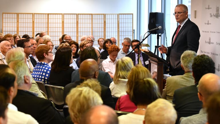 Scott Morrison delivers a speech to the Sydney Institute on Saturday.