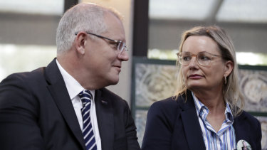 Federal Environment Minister Sussan Ley, pictured with Prime Minister scott Morrison, says she is not in a position to intervene in the Point Grey Marina development.