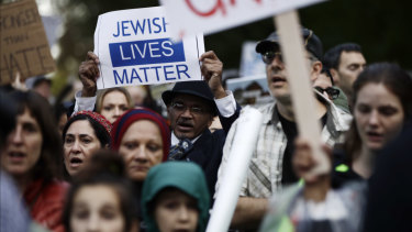 Protesters demonstrate near Pittsburgh's Tree of Life synagogue.