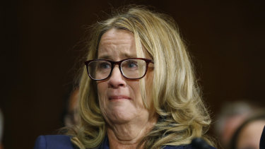 Christine Blasey Ford speaks during a hearing of the Senate Judiciary Committee on Capitol Hill in Washington on Thursday.