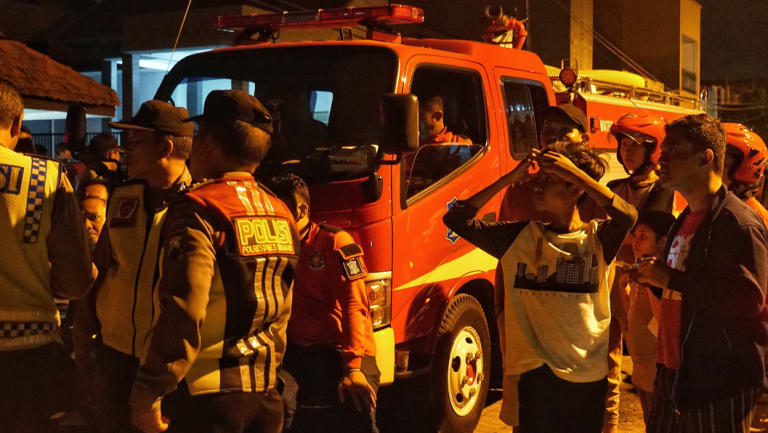 The bomb squad detonates bombs found after the Surabaya attacks.