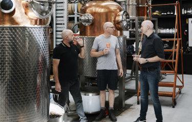 Four Pillars Gin's Stu Gregor (left), Cameron Mackenzie and Matt Jones remortgaged their houses and took on multiple investors to start their venture.