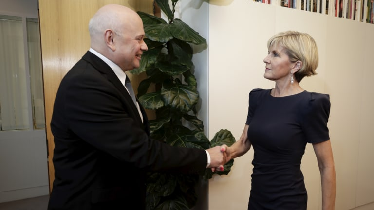 Foreign Affairs Minister Julie Bishop meets with Russian ambassador to Australia Grigory Logvinov.