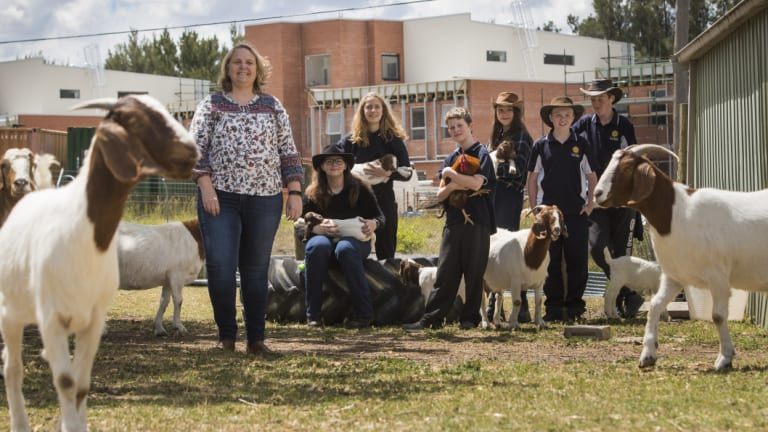 Science teacher, Janet Richardson with UC High School Kaleen year 7 to 10 students Jackie Wannell-Blakey, Imogen Steel, Matthew Bielenberg, Leilani Holgate, Peter Dickens and Tyler White on three acres of land known at Murnong Farm at the school