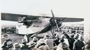 The Southern Cross arrives at Brisbane's Eagle Farm airport in 1928.