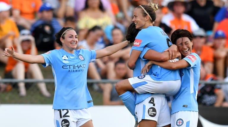 Tenacity rewarded: Aivi Luik (centre) of Melbourne City celebrates after scoring a goal.