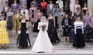 Virginie Viard with models on the runway during the Chanel Couture Haute Couture Fall/Winter 2021/2022 show as part of Paris Fashion Week, 2021.