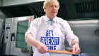 Pie Minister ... Boris Johnson cooking with gas on the last day of the election campaign.