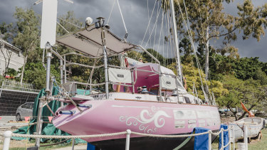 Ella's Pink Lady - Jessica Watson's boat from her solo round the world journey.