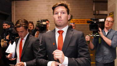 Toby Greene leaves the AFL tribunal on Tuesday night.
