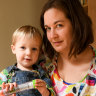 Katherine Sanchez with her son Caspian, who is anaphylactic to eggs