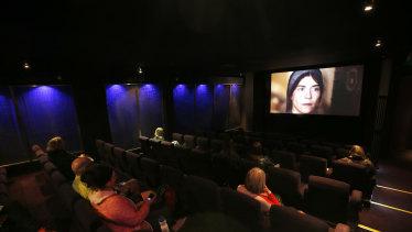 People practising social distancing at theatre Cinema Nova in Carlton in June.