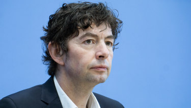 Dr Christian Drosten, virologist of the Charite hospital, attends a press conference in Berlin, Germany.