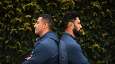 Roosters props Sio Siua Taukeiaho and Isaac Liu are ready to take the fight to Storm pair Jesse Bromwich and Nelson Asofa-Solomona.
