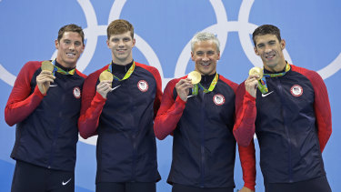 Conor Dwyer (left) alongside 4x200m relay teammates Townley Haas, Ryan Lochte and Michael Phelps in 2016.