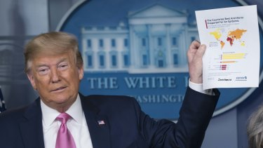 President Donald Trump holds up a document during a press conference on the US preparedness for the new coronavirus on Wednesday.