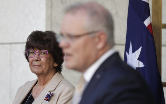 Pat Turner in July with Prime Minister Scott Morrison.