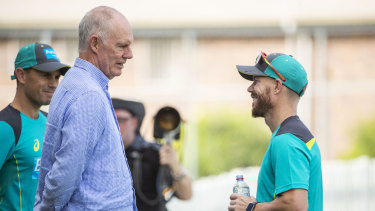 Chappell with David Warner at a training camp in Brisbane earlier this year.