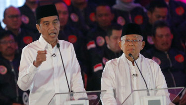 Indonesian President Joko Widodo and his running mate Ma'ruf Amin during the televised debate in Jakarta on Thursday night.