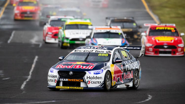 Jamie Whincup behind the wheel for Red Bull Holden Racing at Sandown last year.