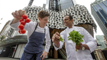 Chef Manjunath Mural from Heritij and Chef Shane Veivers from Persone at Brisbane Quarter.