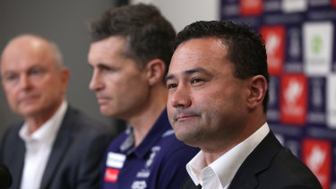 Fremantle president Dale Alcock announces new coach Justin Longmuir and football manager Peter Bell.