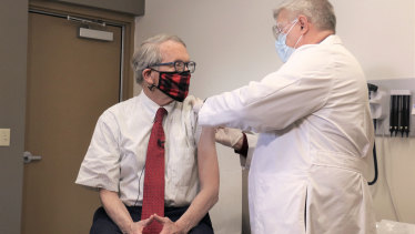 Ohio Governor Mike DeWine gets his first dose of the COVID-19 in February.