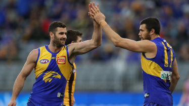 West is best: Eagles Jack Darling and Josh Kennedy.