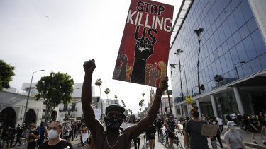 A protester in Hollywood during demonstrations over the death of George Floyd.