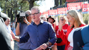 Michael Daley as leader on the hustings during the 2019 state election.
