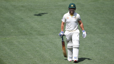 Aaron Finch was given out caught but did not call for a review despite appearing to doubt whether he had hit the ball.