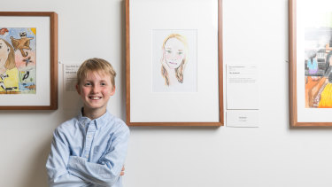 Harvey Heazlewood, 8, won the youngest category of the Young Archie with a drawing of his sister, 'The Dreamer'.