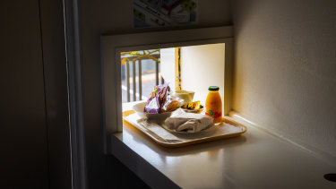 The famous breakfast hatch at The Oval Motel in Bendigo.