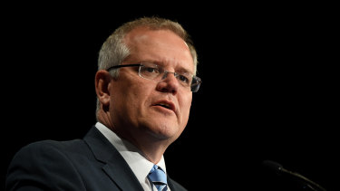 Scott Morrison addressing a Lifeline event in Sydney on Friday.
