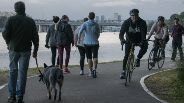 Walkers, runners and cyclists on the Bay Run at 7am on Thursday.