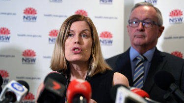 NSW Health Minister Brad Hazzard (right) and NSW Chief Health Officer Dr Kerry Chant speak to the media.