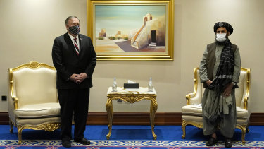 Then US secretary of state Mike Pompeo meeting with Mullah Abdul Ghani Baradar in Doha, Qatar in November 2020.