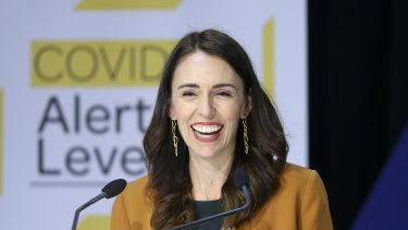 Prime Minister Jacinda Ardern announces the lifting of restrictions in Wellington on Monday.