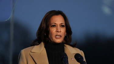 Vice-President-elect Kamala Harris speaks during a COVID-19 memorial.