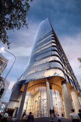 An artist's impression of the 195-metre tower proposed for the Telstra Exchange site at St Leonards.
