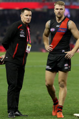 Proud: Bombers coach John Worsfold with Stringer.